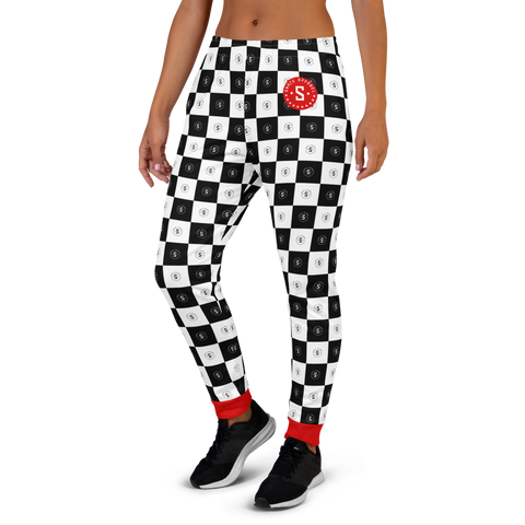 Checkered Logo Women's Sweatpants | Black/White/Red