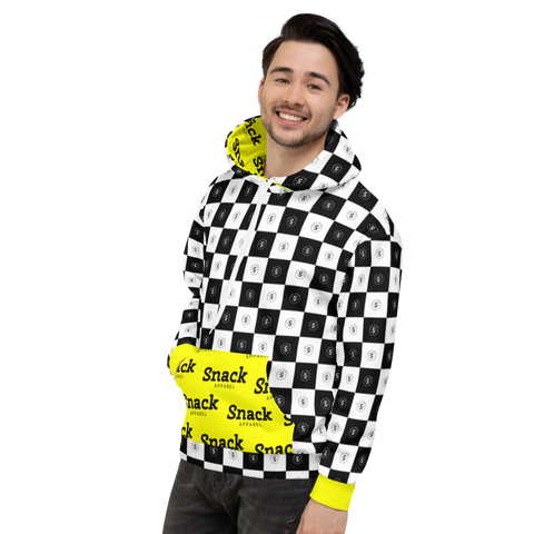 Checkered Unisex Hooded Sweater | Lemon Yellow