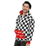 Checkered Unisex Hooded Sweater | Cherry Red