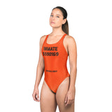 Orange Jumpsuit Prison Inmate Sexy Halloween Costume Women's One Piece Bodysuit Swimsuit