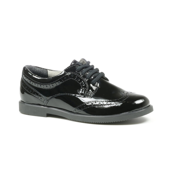 'GEORGIA' Black Patent Lace-up Brogue