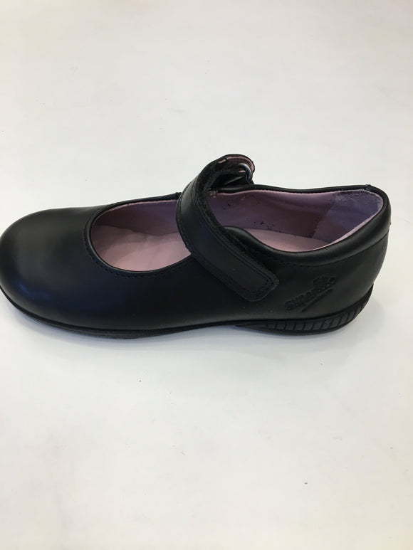 superfit black leather plain school shoe