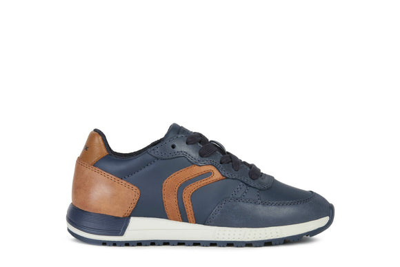J Alben Navy/Cognac Lace-Up Trainers