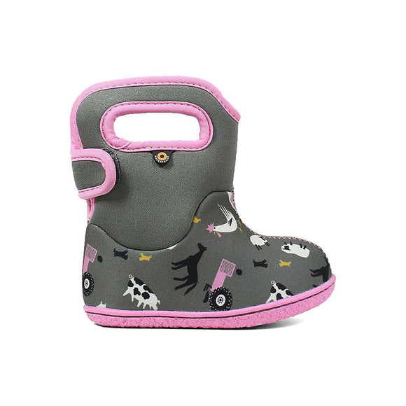Baby Bogs Farm Grey/Pink by Bogs