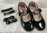 Bonnie F Width Black Patent Unicorn Shoe by Lelli Kelly