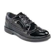 Patent girls lace-up brogue school