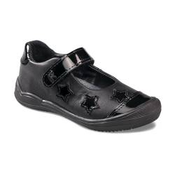 Black Patent/Leather Star Girls School Shoes