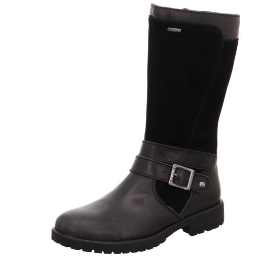 Long Black Boot with strap buckle detail