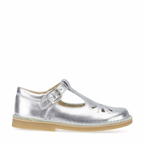 Lottie Silver Leather T-Bar Shoes