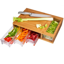 Load image into Gallery viewer, Large Bamboo Cutting Board with Trays/Draws