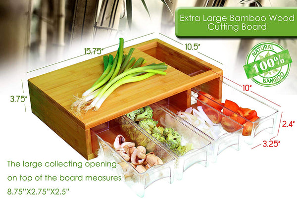Large Bamboo Cutting Board with Trays/Draws