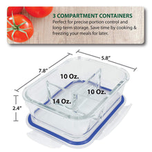 Load image into Gallery viewer, 4X Glass Meal Prep Containers