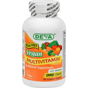 Deva Vegan Multivitamin And Mineral Supplement Iron Free - 90 Tablets