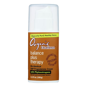 Organic Excellence Balance Plus Therapy Bio-identical Progesterone Cream With Phytoestrogens - 3 Oz - Vita-Shoppe.com