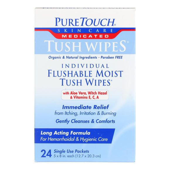 Puretouch Individual Flushable Moist Tush Wipes - 24 Packets - Vita-Shoppe.com