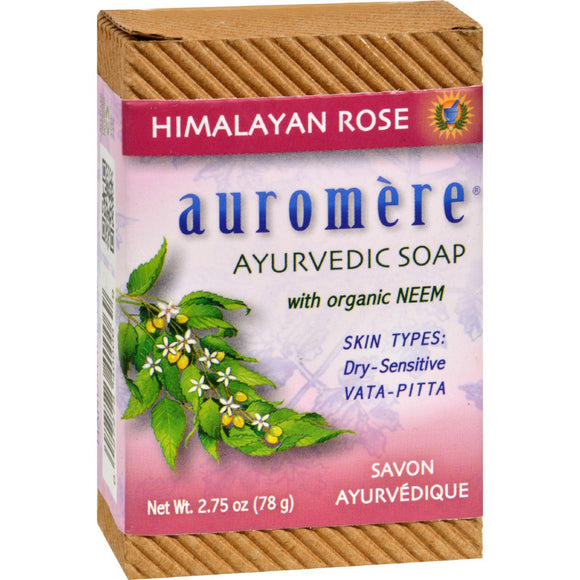 Auromere Ayurvedic Bar Soap Himalayan Rose - 2.75 Oz - Vita-Shoppe.com