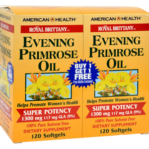 American Health Royal Brittany Evening Primrose Oil Twin Pack - 1300 Mg - 120+120 Softgels - Vita-Shoppe.com