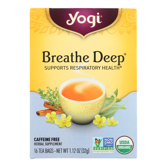Yogi Organic Breathe Deep Herbal Tea Caffeine Free - 16 Tea Bags - Case Of 6 - Vita-Shoppe.com