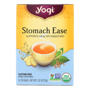 Yogi Organic Stomach Ease Herbal Tea - 16 Tea Bags - Case Of 6 - Vita-Shoppe.com