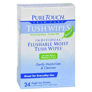 Puretouch Tush Wipes Flushable - 24 Wipes - Vita-Shoppe.com