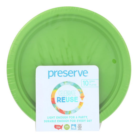 Preserve On The Go Small Reusable Plates - Apple Green - Case Of 12 - 10 Pack - 7 In - Vita-Shoppe.com