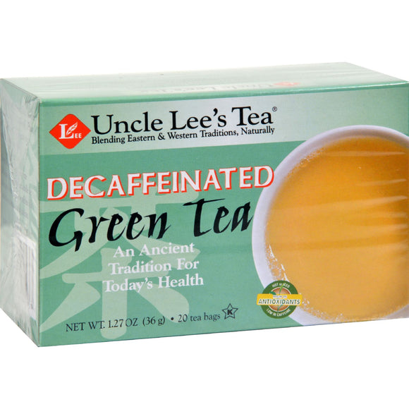 Uncle Lee's Tea Decaffeinated Green Tea - Case Of 6 - 20 Bags - Vita-Shoppe.com