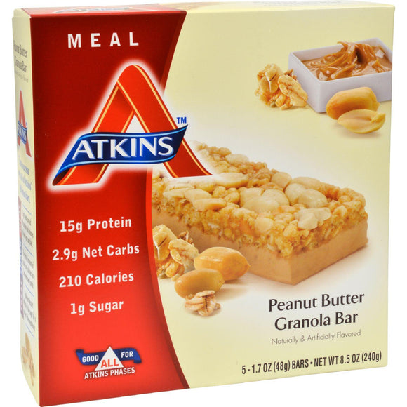 Atkins Advantage Bar Peanut Butter Granola - 5 Bars - Vita-Shoppe.com
