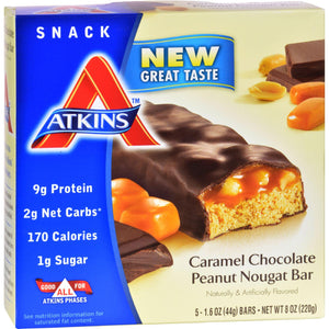 Atkins Advantage Bar Caramel Chocolate Peanut Nougat - 5 Bars - Vita-Shoppe.com