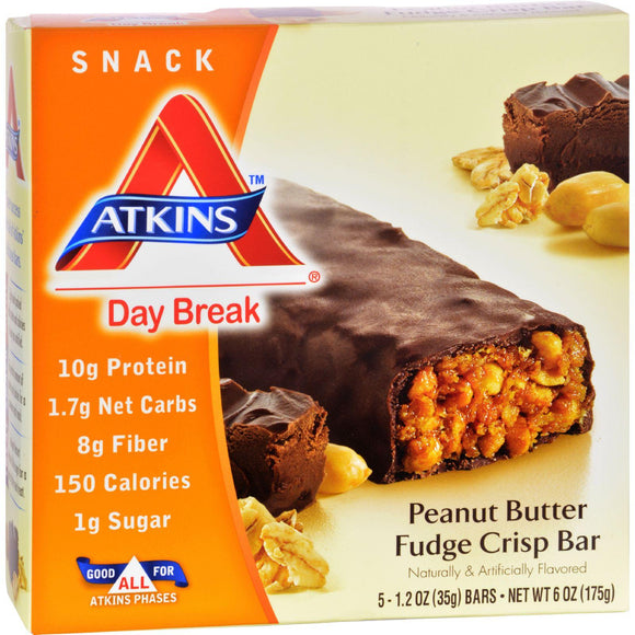 Atkins Day Break Bar Peanut Butter Fudge Crisp - 5 Bars - Vita-Shoppe.com