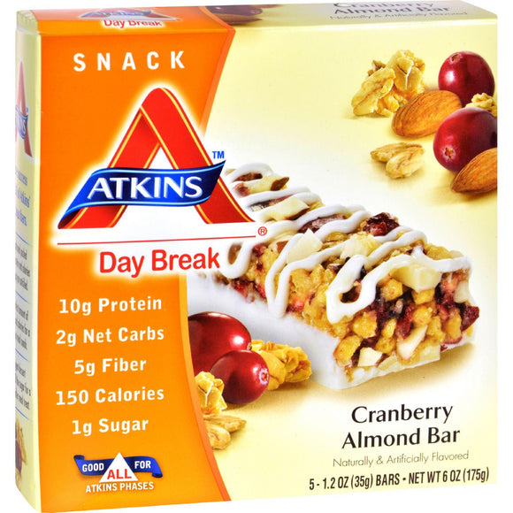 Atkins Day Break Bar Cranberry Almond - 5 Bars - Vita-Shoppe.com