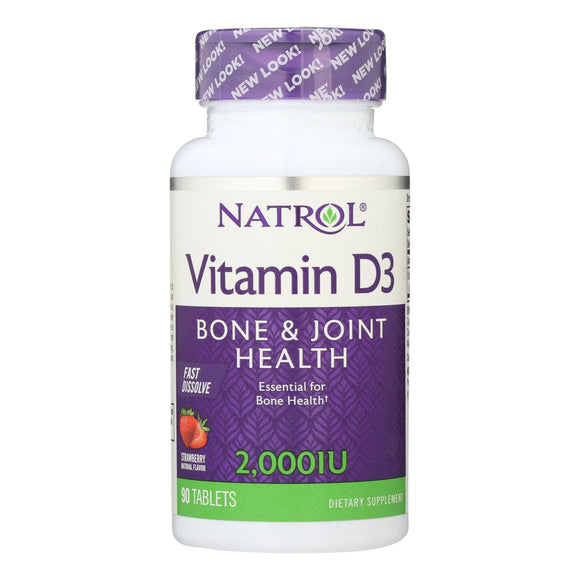Natrol Vitamin D3 Wild Cherry - 2000 Iu - 90 Mini Tablets - Vita-Shoppe.com
