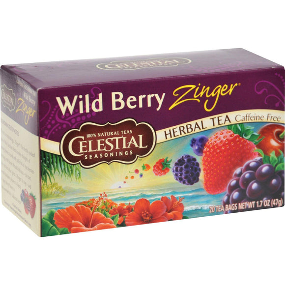 Celestial Seasonings Herb Tea Wild Berry Zinger - 20 Tea Bags - Case Of 6 - Vita-Shoppe.com