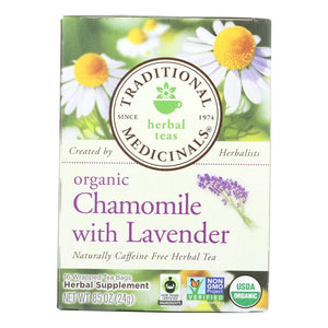 Traditional Medicinals Organic Chamomile With Lavender Herbal Tea - Caffeine Free - Case Of 6 - 16 Bags - Vita-Shoppe.com