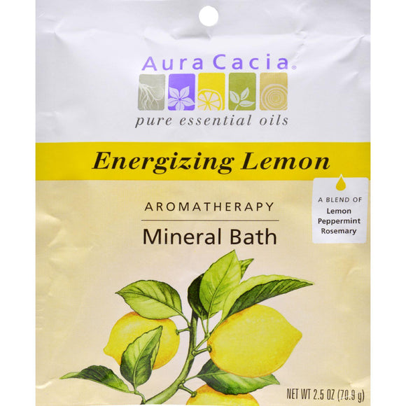 Aura Cacia Aromatherapy Mineral Bath Energizing Lemon - 2.5 Oz - Case Of 6 - Vita-Shoppe.com