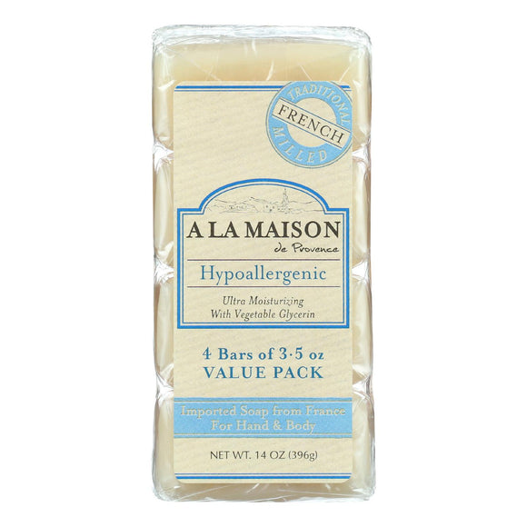 A La Maison Bar Soap - Unscented Value Pack - 3.5 Oz Each - Pack Of 4 - Vita-Shoppe.com