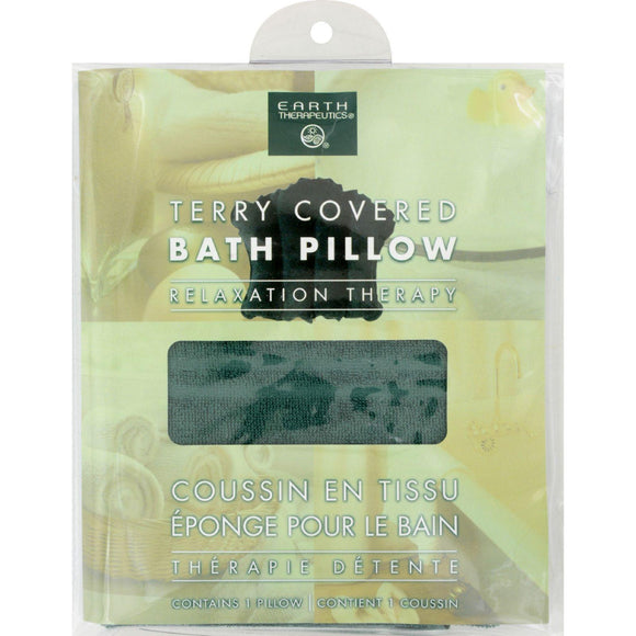 Earth Therapeutics Terry Covered Bath Pillow Dark Green - 1 Pillow