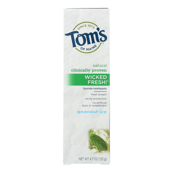 Tom's Of Maine Wicked Fresh Toothpaste Spearmint Ice - 4.7 Oz - Case Of 6 - Vita-Shoppe.com