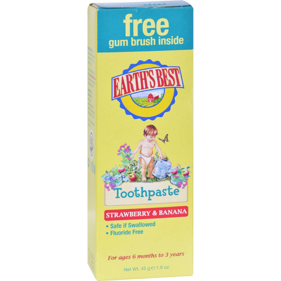 Earth's Best Toddler Toothpaste Strawberry Banana - 1.6 Oz - Vita-Shoppe.com