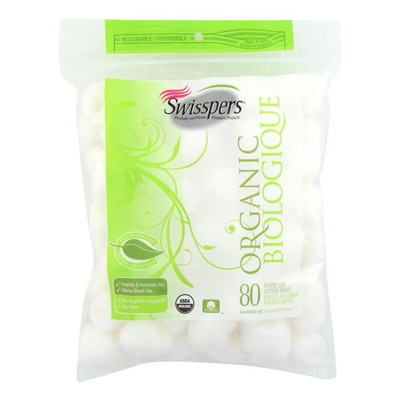 Swisspers Organic Triple Size Cotton Balls - 80 Pack - Vita-Shoppe.com