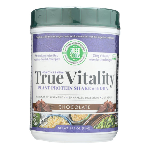 Green Foods True Vitality Plant Protein Shake With Dha Chocolate - 25.2 Oz - Vita-Shoppe.com