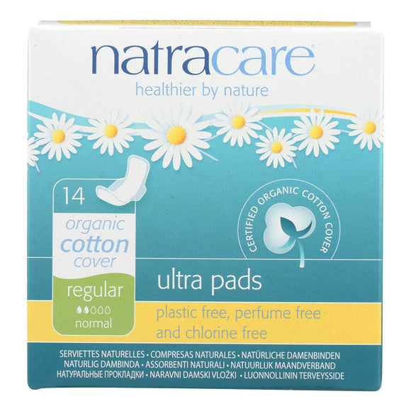 Natracare Natural Ultra Pads W-wings Regular W-organic Cotton Cover -  14 Pack - Vita-Shoppe.com
