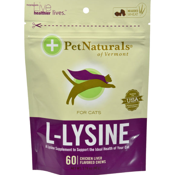 Pet Naturals Of Vermont L-lysine For Cats Chicken Liver - 60 Chewables - Vita-Shoppe.com