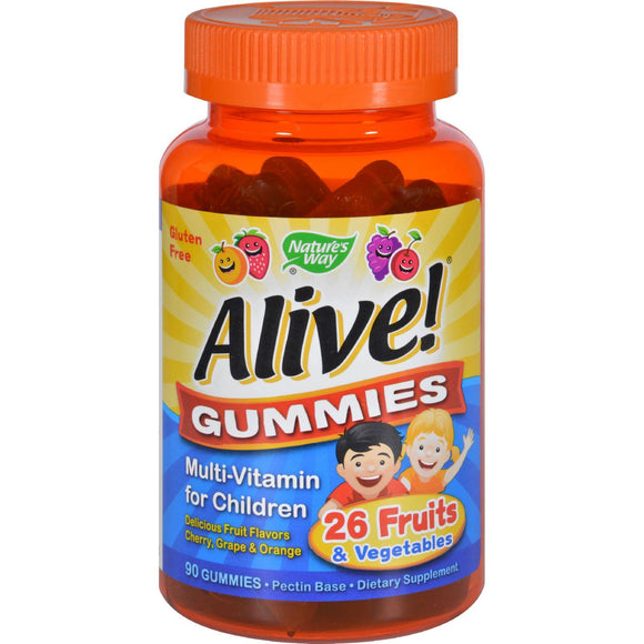 Nature's Way Alive Gummies Multi-vitamin For Children Natural Cherry, Grape And Orange - 90 Gummies - Vita-Shoppe.com