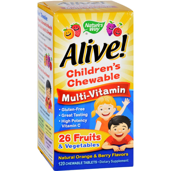 Nature's Way Alive Children's Multi-vitamin Chewable Natural Orange And Berry - 120 Chewable Tablets - Vita-Shoppe.com