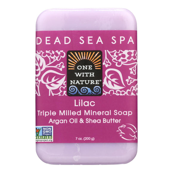 One With Nature Triple Milled Soap Bar - Lilac - 7 Oz - Vita-Shoppe.com