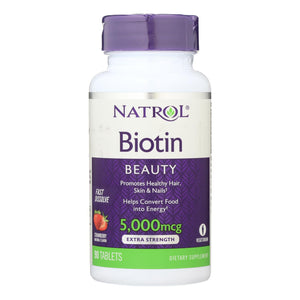 Natrol Biotin - Fast Dissolve - Strawberry - 5000 Mcg - 90 Tablets - Vita-Shoppe.com