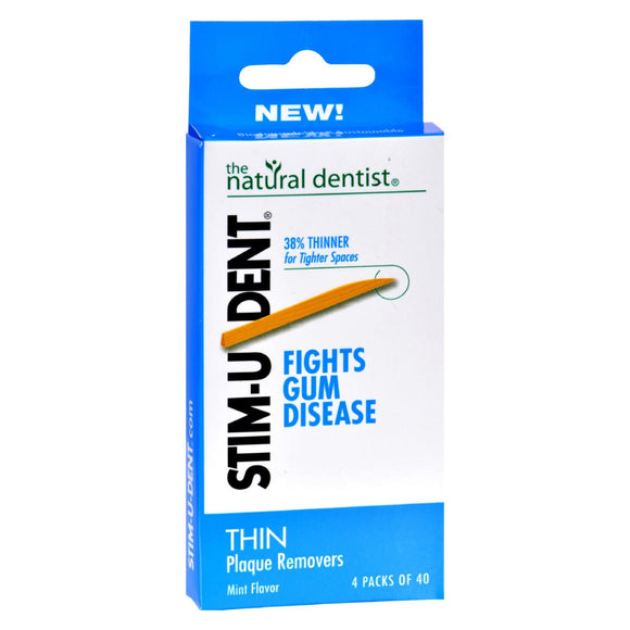 Natural Dentist Stim-u-dent Thin Plaque Removers Mint - Case Of 6 - 4 Packs - Vita-Shoppe.com