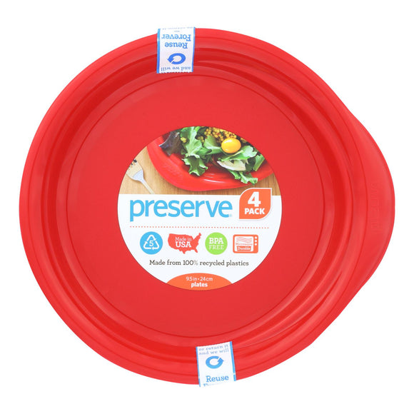 Preserve Everyday Plates - Pepper Red - 4 Pack - 9.5 In - Vita-Shoppe.com