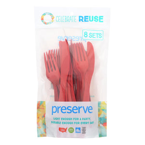 Preserve Heavy Duty Cutlery Sets - Pepper Red - 8 Sets - 24 Pieces Total - Vita-Shoppe.com