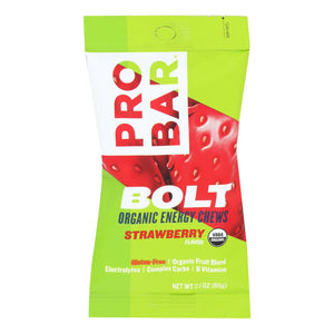 Probar Bolt Energy Chews - Organic Strawberry - 2.1 Oz - Case Of 12 - Vita-Shoppe.com